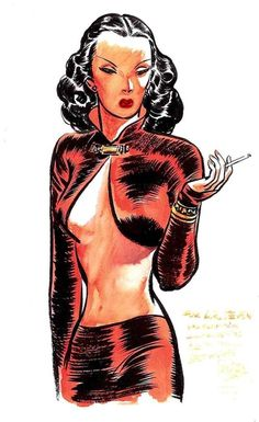 pin up noir the dragon lady by milton caniff, terry and the pirates. Animated Cartoons, Cool Cartoons, Female Dragon, Dragon Lady, Laurent Durieux, Milton Caniff, She Wolf, Bd Comics, Classic Comics