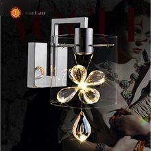 Moderne mur de verre de cristal lampes LED lampe de chevet lampes montées en applique pour Bar Club salon LED ampoules(China (Mainland))
