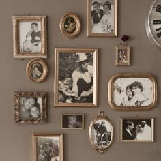 assorted gold frames for black and white photos Photo Wall Decor, Family Wall Decor, Gallery Wall Frames, Frames On Wall, Gold Frames, Molduras Shabby Chic, Diy Bedroom Decor, Home Decor, Decoration