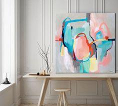 Gris abstracto pintura arte pintura impresión verde Giclee