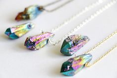 Rainbow titanium Raw crystal necklace by VermeerJewellery on Etsy