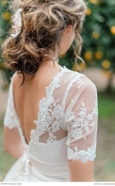 Lacy dress inspiration! Photographers: Christine Meintjes Photography | Venue: Grande Dedale | Hair & Make Up: Alicia Buckle | Styling: Anneke Roux from The Pretty Blog | Wedding Cake: Wedding Dress: Robyn Roberts Bridal Wear |