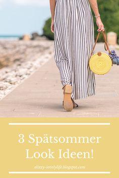 Der Sommer ist wie immer viel zu schnell vorüber geflogen und schon bald fallen die ersten Blätter von den Bäumen. Doch vor dem Herbst ist noch Spätsommer und dieser verwöhnt uns auf jeden Fall noch mit ein paar warmen Tagen! #spätsommer #look #summer #mode #modeblog #fashion Handmade Bags, Handmade Crafts, Lässigen Jeans, Craft Online, Mode Blog, Fabric Bags, Lifestyle Blog, Straw Bag, Fancy