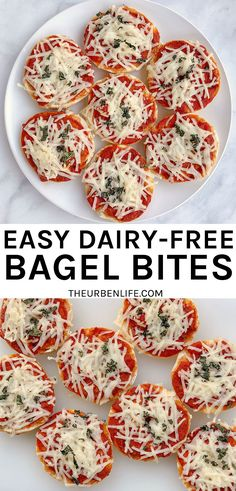 How to make homemade bagel bites | vegan | dairy free | non dairy | dairy free cheese | plant based | lactose free | allergy friendly | vegetarian | quick | easy | meatless meal | simple snack Popular Recipes, New Recipes, Real Food Recipes, Dairy Free Diet, Lactose Free, Delicious Recipes, Vegetarian Recipes, Yummy Food, Group Meals