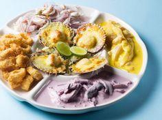 Orgía Marina (Ceviche Mixto Tradicional, Tiradito a la Huancaína, Pulpo al Olivo, Chicharrón de Calamar y Conchitas a la Parmesana)