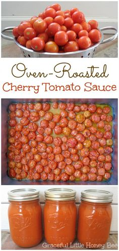 ) Graceful Little Honey Bee The post Oven-Roasted Cherry Tomato Sauce (Freezer-Friendly!) appeared first on Tasty Recipes. Cherry Tomato Recipes, Cherry Tomato Sauce, Garden Tomato Recipes, Spinach Recipes, Tomato Sauce Recipes, Easy Tomato Sauce, Tomato Garden, Tomato Plants, Oven Roasted Cherry Tomatoes