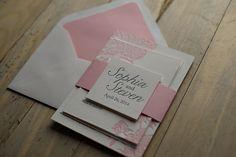 Peony Wedding Invitation, pink and grey invitation, spring wedding invitation, letterpress wedding invitation