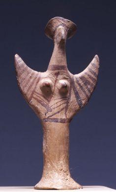 Bird goddess: Female figurine (Psi-type), clay, Mycenaean, Late Helladic III B-C period 1300-1150 BC