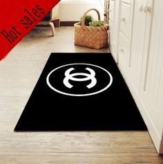 Very Fashion Black Base White Letter Logo And Area Rug Brand Carpet