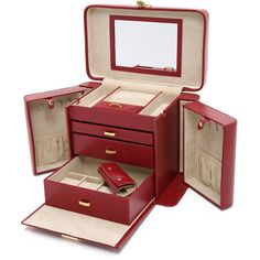 Gift Boutique 4 Level Jewelry Box ($220) ❤ liked on Polyvore featuring home, home decor, jewelry storage, red, red jewelry box, red home decor, 4 shelves, locking jewelry box and 4 shelf