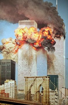 9/11 South Tower is Struck. #WorldTradeCenter Twin Towers (Two of the 4 Targets of #911) Remembering and Honoring the Heroes of 9-11-2001 9-11 #NeverForget #911 #Remembering911 9/11/2001