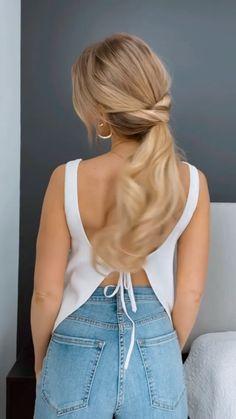 Hairdo For Long Hair, Easy Hairstyles For Long Hair, Cute Hairstyles, Ponytail Hairstyles, Wavy Hair, Updos, Dyed Hair, Medium Hair Styles, Curly Hair Styles