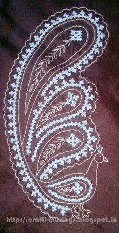 Saree embroidery 12 - Kutchwork peacocks