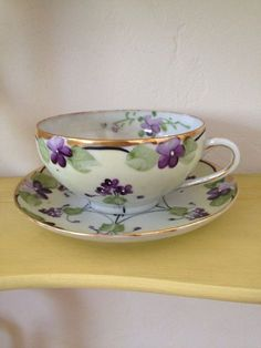Purple Violet Vintage tea cups and saucers from Hand painted, twelve pieces Antique Tea Cups, Vintage Cups, Vintage Tea, Cup And Saucer Set, Tea Cup Saucer, Teapots And Cups, Teacups, Sweet Violets, China Tea Sets