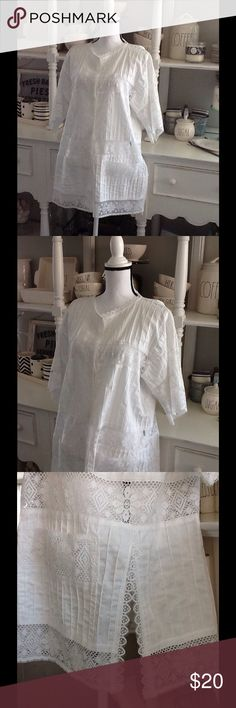 """Lace trimmed beach cover-up One size fits most. Approximate measurements: bust 48"""", underarm to hem 22.5"""", sleeve length 11.5"""". Neck, hem, and sleeves have lace edging. See-thru lace inserts (see photo). Two front patch pockets have lace at the top. Good used condition. no brand Swim Coverups"""