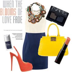 Colour Blocking, created by itsalessia on #Polyvore #fashion #style #outfit #interview #bag #dior #pumps #heels #nars #hm #colorblock