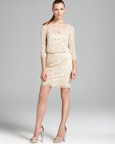 Aidan Mattox Blouson Dress - Beaded Coral Reef   Bloomingdale's