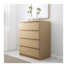 MALM Chest of 4 drawers, white stained oak veneer - 80x100 cm - IKEA
