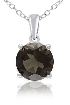Gemstones Galore 1.75 ct Smokey Quartz Solitaire Pendant in Silver - Beyond the Rack