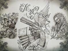 Gangster Tattoo Flash | Chicano Tattoo Flash Art Clown Tattoos
