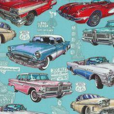 RJR Fabrics Get Your Kicks Route 66 cars 3053