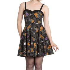 Harlow mini jurk met Halloween print zwart - Gothic Metal horror zombie