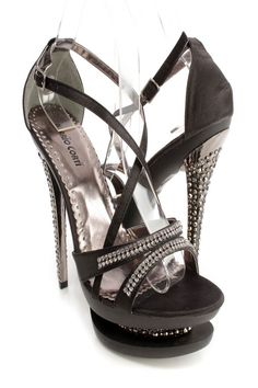Doll up any outfit with these sexy platform high heels! The features include a satin fabric upper with a cross strappy design, side buckle closure, strappy vamp with rhinestone detailing and open toe, faceted carved high polish heel, carved platform with rhinestone detailing, smooth lining, and cushioned footbed. Approximately 6 inch heels and 2 inch platforms.