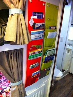 Great idea for storing art supplies and books http://@Allison j.d.m Court made me think of you for the camper!