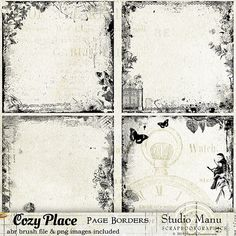 Cozy Place - Page Borders in png format, perfect for digital mixed media art, art journaling, and other artsy projects