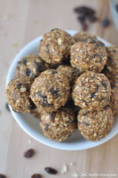 Oatmeal Raisin Energy Bites - sub in some protein powder (These ones have steel cut oats in them)