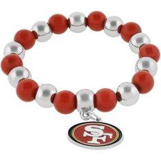 NFL San Francisco 49ers Beaded Pendant Bracelet, 8 inch