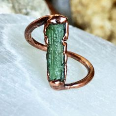 Raw Moldavite Ring Electroformed Bright Copper by thesixofcups