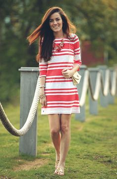 Classy Girls Wear Pearls: Birds of a Feather Red And White Outfits, Preppy Style, My Style, Fasion, Fashion Outfits, Fashion Clothes, Summer Outfits, Cute Outfits, Moda Chic