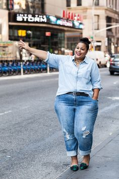 """My No. 1 Piece Of Denim Advice For Curvy Girls: """"Don't be afraid to get in that dressing room and try on those jeans in a variety of sizes! There is no crying in baseball, and there is no vanity sizing when it comes to the perfect pair of jeans."""" #refinery29 http://www.refinery29.com/plus-size-denim-outfits#slide-8"""