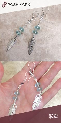 Boho Style Aquamarine Quartz and Feather earrings So cute. Boho style Aquamarine quartz earrings features rhodium plated silver feather, and sterling silver components including sterling silver hook ear wire. Measures approximately 4 inches. Relatively light and will not weigh you down🍥Handcrafted Item🍥 please bundle to save extra on shipping. AriGrl Jewelry Earrings