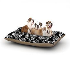 "Mydeas ""Sweetheart Damask Black & White"" Pattern Dog Bed"