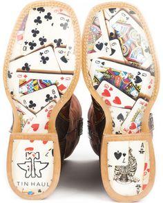 668477c94d9a1 Tin Haul Men's The Gambler Card Shuffle Sole Cowboy Boots - Square Toe,  Brown Tin