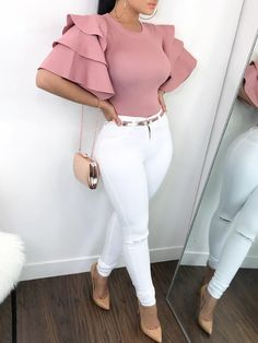 2019 New Fashion Women Stylish Pink Shirts Roundneck Ruffle Sleeve . Fashion new fashion Classy Outfits, Chic Outfits, Sexy Outfits, Trendy Outfits, Fashion Outfits, Womens Fashion, Fashion Trends, Fashion Shirts, Summer Outfits