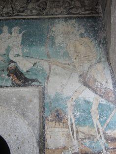 Triumph of death detail (16th Century), Monastery of Santa María de los Reyes (upper cloister),Hutlatlauca, Puebla, Mexico
