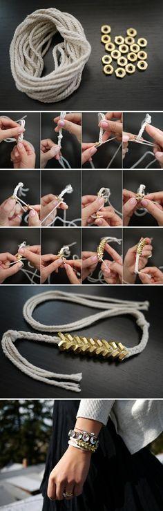 六角螺絲三股編織手鍊,轉載請附上原網址http://honestlywtf.com/diy/diy-braided-hex-nut-bracelet/