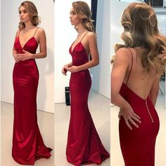 Simple Backless Dark Red Mermaid Long Evening Prom Dresses, MermaidNeckline: Spaghetti StrapsSleeve Length: SleevelessBack Details: BacklessFully Lined: YesBuilt-in Bra: YesHemline/Train: LongFabric: Stretch Satin Hoco Dresses, Prom Party Dresses, Party Gowns, Satin Dresses, Pretty Dresses, Homecoming Dresses, Beautiful Dresses, Bridesmaid Dresses, Formal Dresses