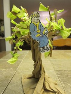 Another person had this pinned on their board (of a tree made from a paper bag.)  It worked great for my Sunday School lesson on Zacchaeus.  Green tissue paper was used for the leaves and a clip art bible character was used for Zacchaeus.  Although I teach preschoolers this craft can easily be done by a child (7 years old and up).
