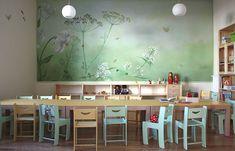 Wandmalerei im Kindergarten | Atelier Wandlungen Kids Table And Chairs, Kid Table, Table And Chair Sets, Murals Street Art, School Furniture, Kindergarten, Kids Bedroom, Bedroom Ideas, Chair Design