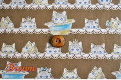 Kokka / Blue Eyed Cats and Laces Japanes Fabric Brown - 110 cm x 50cm