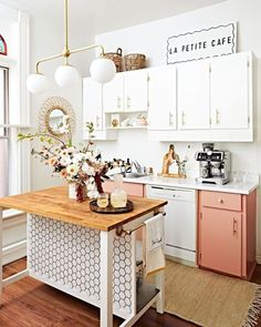 Before and After: Luxe-Looking Rental Kitchen Redo Featuring IKEA Hack Rental Kitchen, Kitchen Redo, Rustic Kitchen, New Kitchen, Kitchen Ideas, Pink Kitchen Cabinets, Ikea Small Kitchen, Pink Kitchen Decor, Small Apartment Kitchen