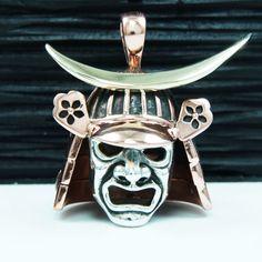 SAMURAI BUSHIDO BATTLE MASK COPPER BRASS 925 STERLING SILVER PENDANT gb-103 #SamuraiKabutoMask