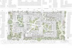 Møller Architects and Tredje Natur win competition to design an innovative generation community in Copenhagen - one of the largest and most visionary residential and nursing home projects in Danish history. House Landscape, Landscape Plans, Landscape Design, Henning Larsen, Habitat Collectif, Win Competitions, Brick Arch, Master Plan, Urban Planning