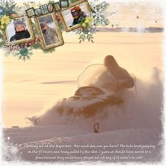 Winter Digital Scrapbook Layout Project Idea from the Creative Memories Project Center, Detailed Instructions: http://projectcenter.creativememories.com/photos/digital_page_layouts/tswan-winter-12x12-layout.html  Winter Breeze Digital Kit, First Snow Digital Kit, Enchanted Winter Digital Additions, and Nature Digital Embellishments