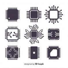 Modern cpu collection with flat design free vector Design Plat, Flat Design, Logo Design, Vector Design, Electronic Shop, Electronic Gifts, Circuit Tattoo, Tech Tattoo, Cyberpunk Tattoo