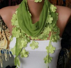 Scarf  Grass Green Cotton Scarf Headband Woman by fatwoman on Etsy, $15.00